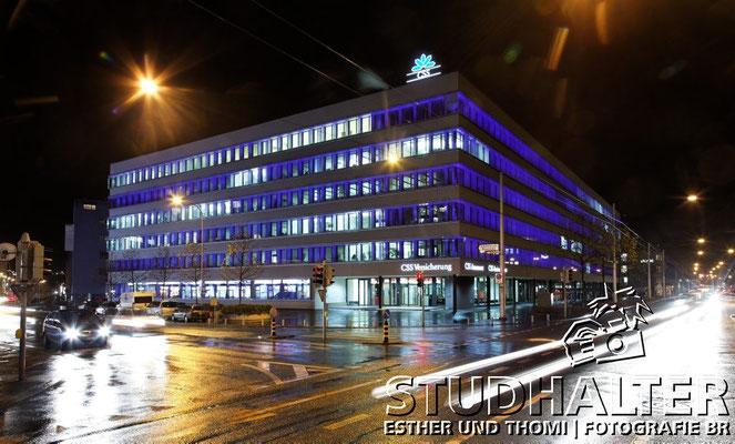 Nachtaufnahmen CSS-Hauptsitz Tribschenstrasse Luzern für Energo by Stockerdirect.ch. HDR-Fotografie.