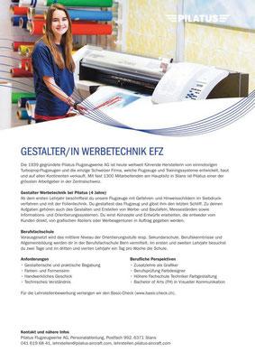Flyer der Personalabteilung Pilatus Flugzeugwerke AG Stans/NW: Infos für Lernende für Print und Web