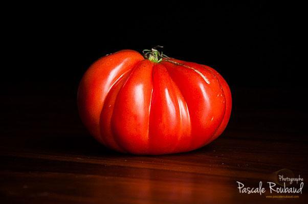 Portrait photo d'une tomate coeur de boeuf