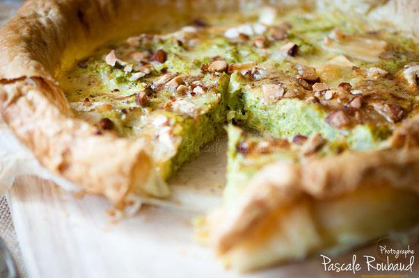 Tarte pistache et brocolis