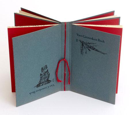 Vier Grotesken Buch – Buchidee, Handsatz und buchbinderische Verarbeitung Heike Schmidt-Dudestedt, Illustrationen als Originallithographie von Kerstin Baudis, 1985