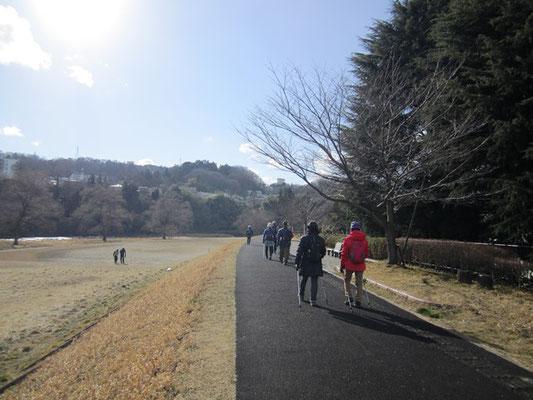 春恋しく待ち遠しく 河原にお散歩・RUN・日向ぼっこをしに人々が来てました