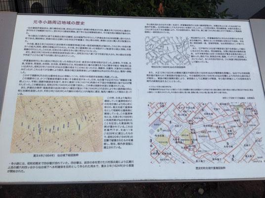 元寺小路周辺の歴史 昔の仙台の説明です