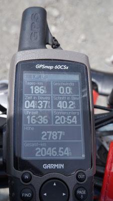 GPS zeigt  kanpp 2.800 meter am Monte Jafferau