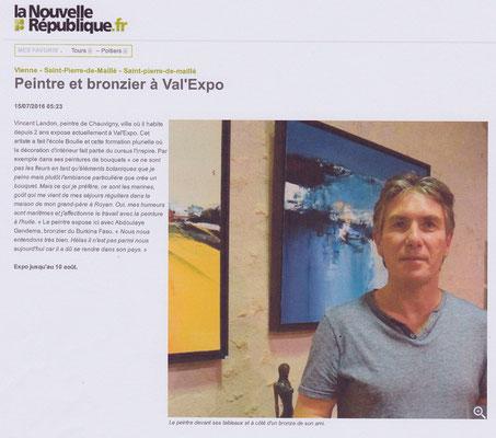 """Article """"La Nouvelle République """" du 15/07/16"""