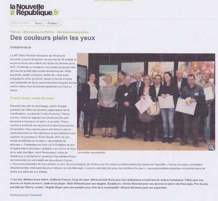 """Article """"La Nouvelle-République"""" du 7 mai 2016"""