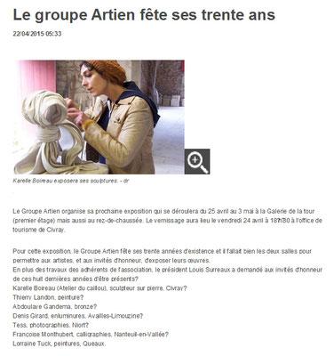 """Article """"La Nouvelle-République"""" du 22/04/15"""