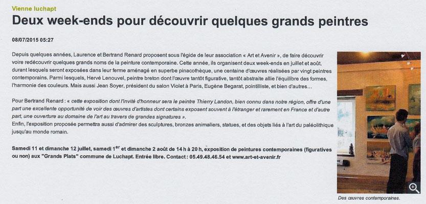 """Article """"La Nouvelle-République"""" du 08/07/2015"""