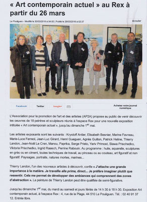 "Salon ""Art contemporain actuel"" - AP2A - LE POULIGUEN (44) - Art. ""Ouest-France"" du 28/03/2016"
