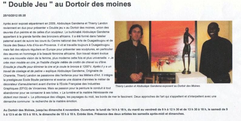 """Article """"La Nouvelle-République"""" du 25/10/2012"""