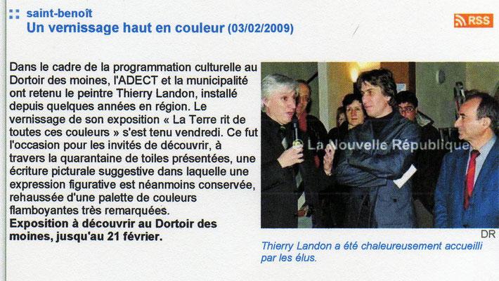"""Article """"La Nouvelle République"""" - février 2009"""