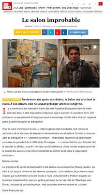 """Article """"Sud-Ouest"""" du 22/11/16"""