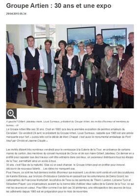 """Article """"La Nouvelle-République"""" du 29/04/15"""