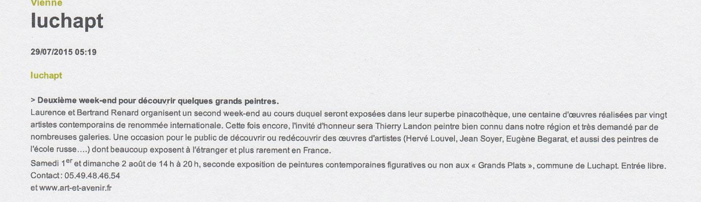 """Article """"La Nouvelle-République"""" du 29/07/2015"""