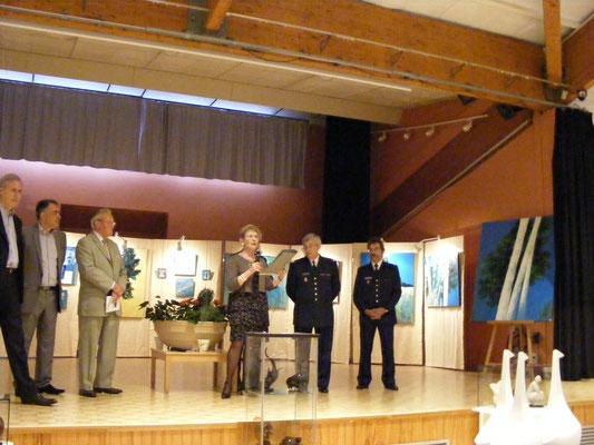 Jacqueline Berthier-Perroutin, présidente de l'ADAC, les élus et les invités d'Honneur, Jean-Marie Zacchi et Guy Geymann