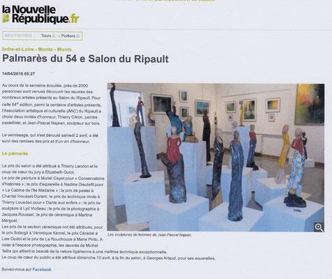"""Article """"La Nouvelle-République"""" du 14/04/16"""