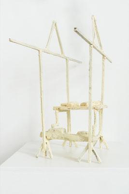 Verkaufsvorrichtung Nr.1, Holz,Pigment,Wachs,Gips, 41 x 30 x 20 cm, Nahaufnahme