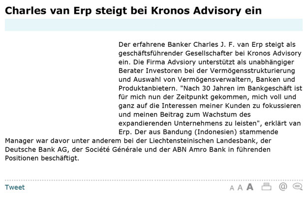 Charles van Erp steigt bei KRONOS Advisory ein