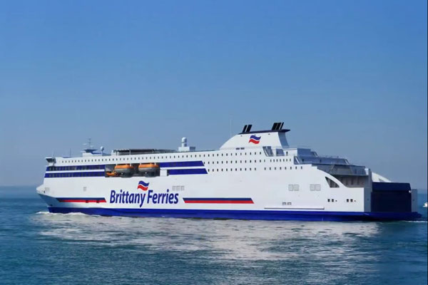 An artist impression of the new E-Flexer class ferries in Brittany Ferries livery. Courtesy Brittany Ferries