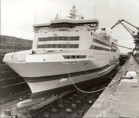 Normandie in drydock. Courtesy Brittany Ferries.