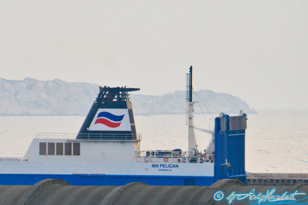 Brittany Ferries' logo on MN Pelican's funnel. Courtesy Andy HUMBERT.