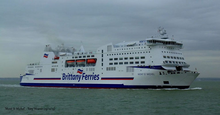Mont Saint Michel after her 2015 refit entering Portsmouth's harbour pictured by Tony WEAVER (BFShips)