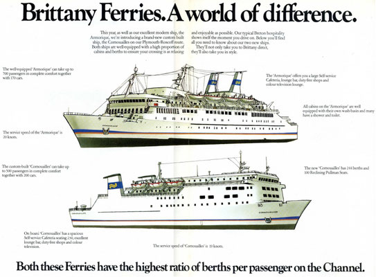 Advertisement for Brittany Ferries' services featuring Armorique. Rights Reserved.