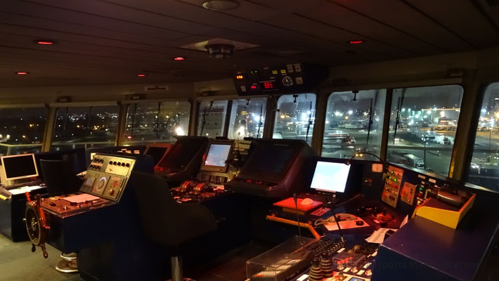 Central space of the wheelhouse, with the Harbour in the background