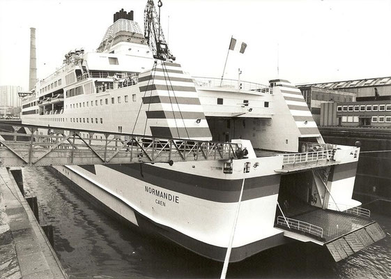 Normandie in dry dock. Courtesy Brittany Ferries.