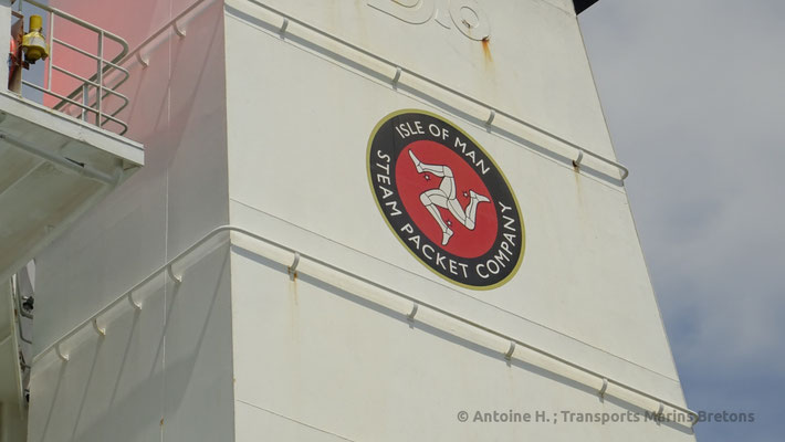 The Steam Packet Isle of Man company's logo on Arrow's funnel. Picture Antoine H.