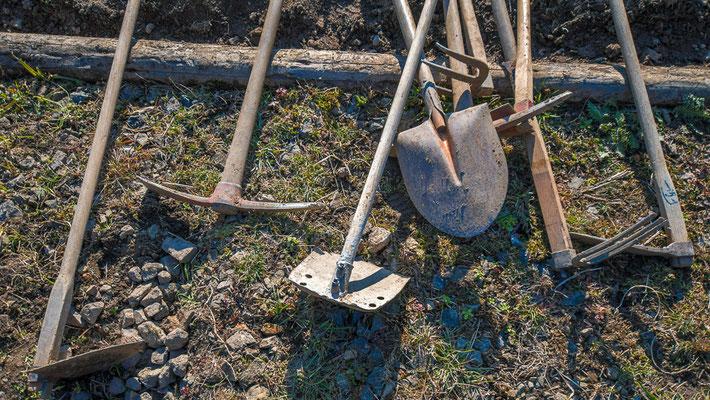 空石積みの道具
