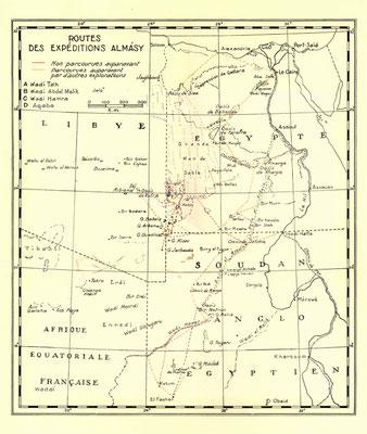 Mappa con le principali spedizione effettuate da Almasy
