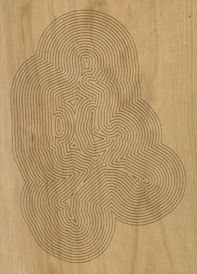 W3L4Y17S1160, marine plywood, 2017, 29x40cm