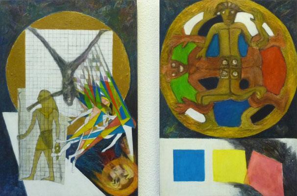 """""""Philosophie I und II"""", Acryl collagiert auf Hartfaser, 1998, 100x70"""