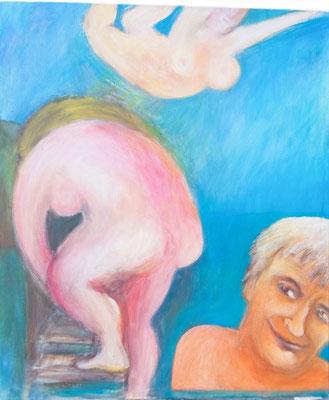 """""""Abtauchen - Auftauchen"""", 1997, Acryl auf Leinwand, 100x85"""