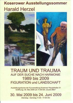 "Flyer zur Ausstellung ""Traum und Trauma"" in Koserow, ""Trauma"", 1994, Acryl auf Leinwand, 100x85"