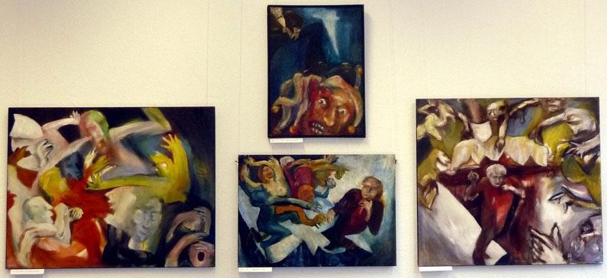 """""""Tarnen, Kotzen, in die Fresse hauen"""", Acryl auf Leinwand, 110 x 90, 1994, (links), """"Der Narr"""", Acryl auf Leinwand, 1993, (oben), """"Traum und Trauma"""", Acryl, auf Leinwand, 1991, """"Traum und Trauma"""", Acryl, auf Leinwand, 1991, 100 x 85 (rechts)"""