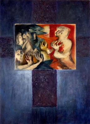 """""""Traum und Trauma"""", 1989, Öl auf Hartfaser über Leinwand, Acryl collagiert, 48x36 bzw. 98x71"""