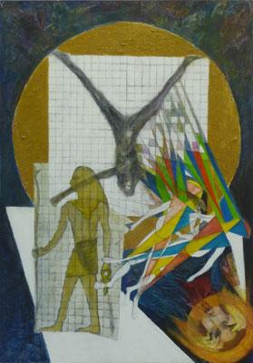 """""""Philosophie I"""" - ästhetische Umsetzung zur Proportionslehre, Acryl collagiert auf Hartfaser, 1998, 100 x 70"""