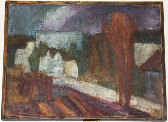 """""""Aus Muttis Fenster"""", 1991, Öl, 33x24"""