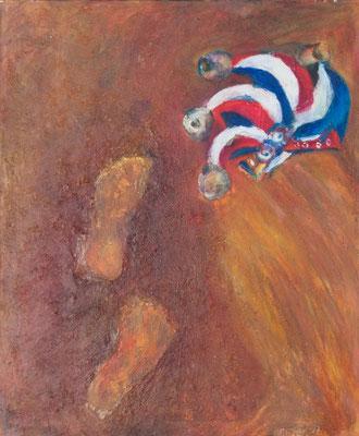 """""""Der Narr geht"""", 1997, Acryl auf Hartfaser, collagiert mit Lehm und Ton, 90x75"""
