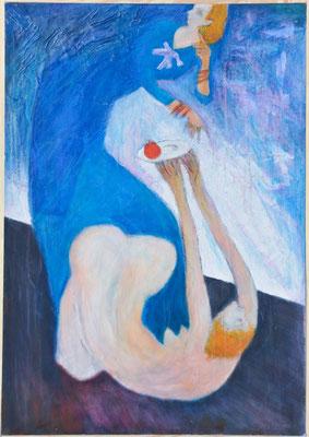 """Anbiedern"", 2000, Acryl auf Hartfaser, 100x70"