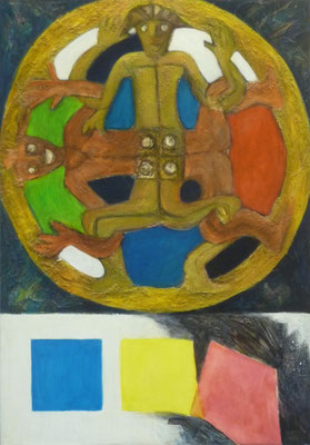 """""""Philosophie II"""" - asthetische Umsetzung zur Farbtheorie, Acryl collagiert auf Hartfaser, 1998, 100x70"""