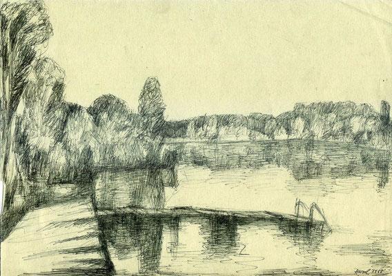 """Prendener See"", 1986, Kugelschreiber"