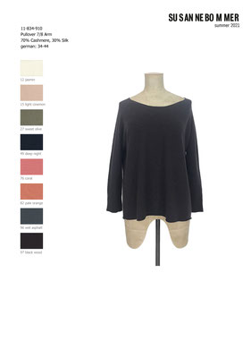 11-834-910, 96 Sweater 7/8 sleeves, wet asphalt