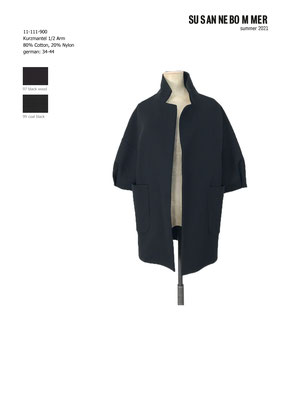 11-111-900,99 Short Coat 1/2 sleeves, coal black