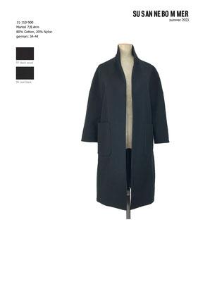 11-110-900,99  Coat 7/8  sleeves, coal black