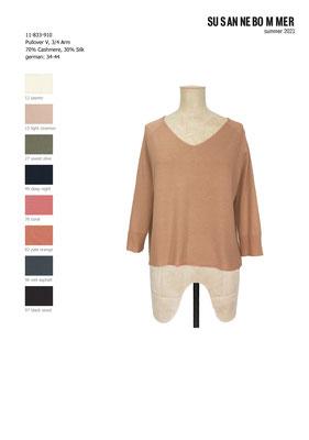 11-833-910, 82 Sweater V neck 3/4 sleeves, pale orange