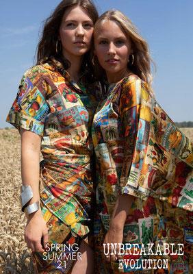 Left: 202-ES TELLA shirt. Right: 204-SS LUNA dress, print 03