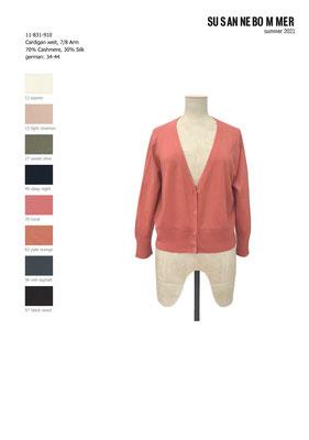 11-831-910,76 Cardigan 7/8 sleeves, coral